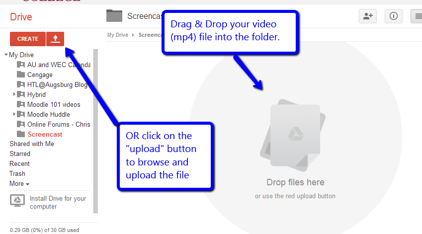 Upload file to Google folder