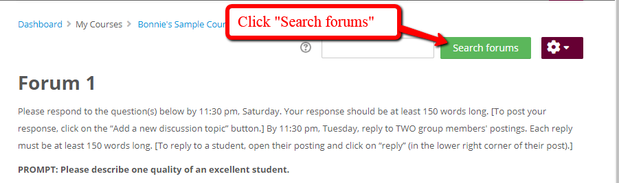 "Open Forum and click ""Search forums"""