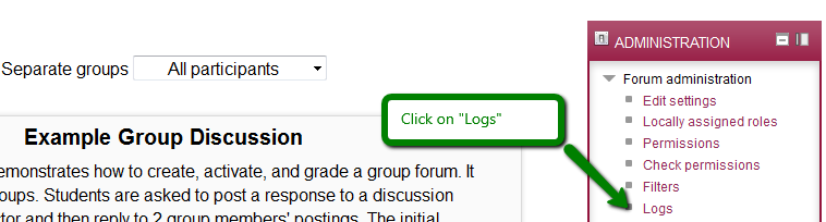 "Click on ""Logs"" in Administration block"