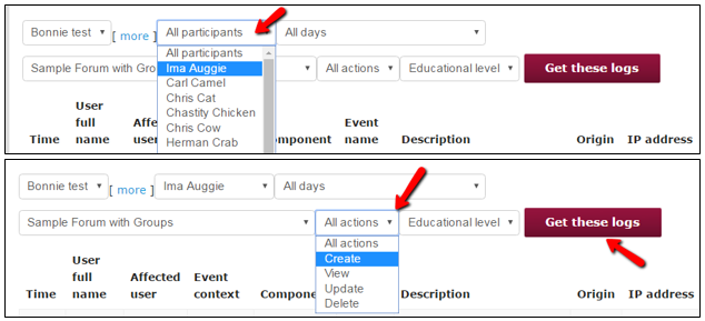 "Select student name and ""create"" from dropdown menu"