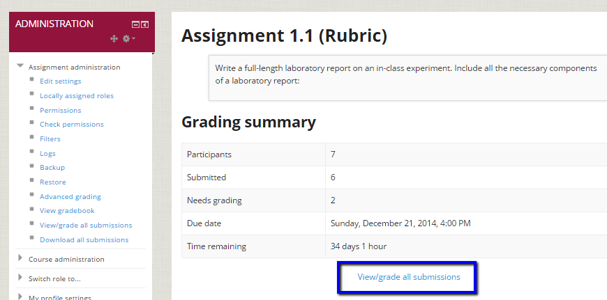 "Click on ""View/grade all submissions"" to grade."