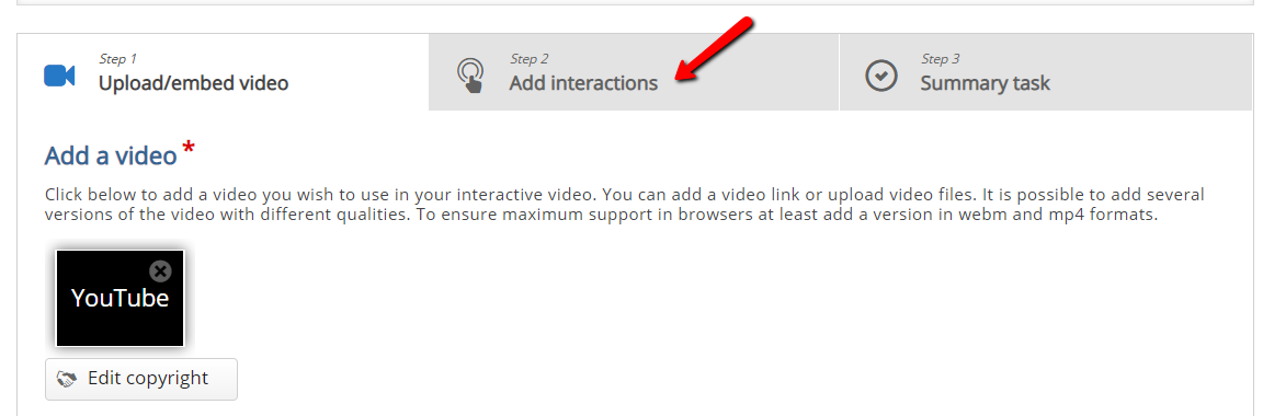 Add Interactions button and quesiton type toolbar