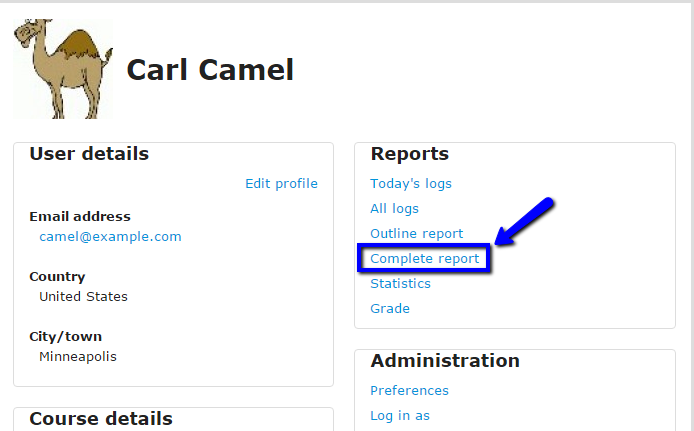 "Click ""complete report."""