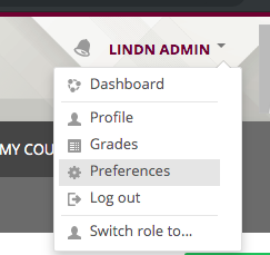 "menu in upper right of Moodle showing ""Preferences"" menu"