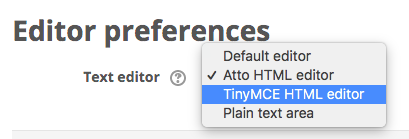 Dropdown menu showing text editor options with TinyMCE selected