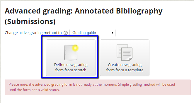 Build new Marking Guide from scratch