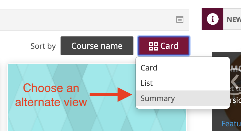 Choose an alternate view with the Card button