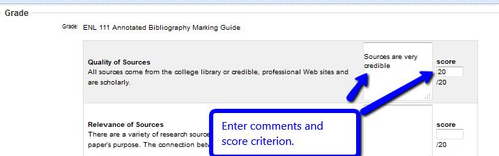 Score criterion