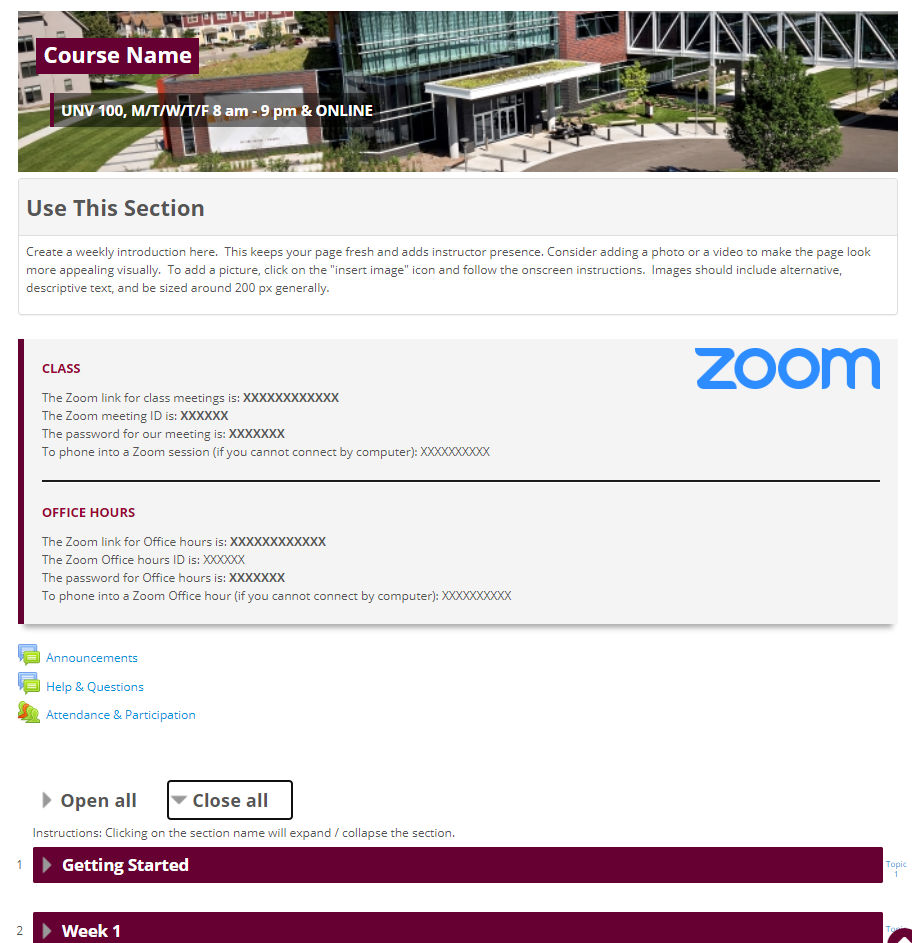 Moodle Course Template