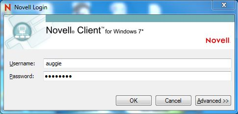 Novell Client Login Screen