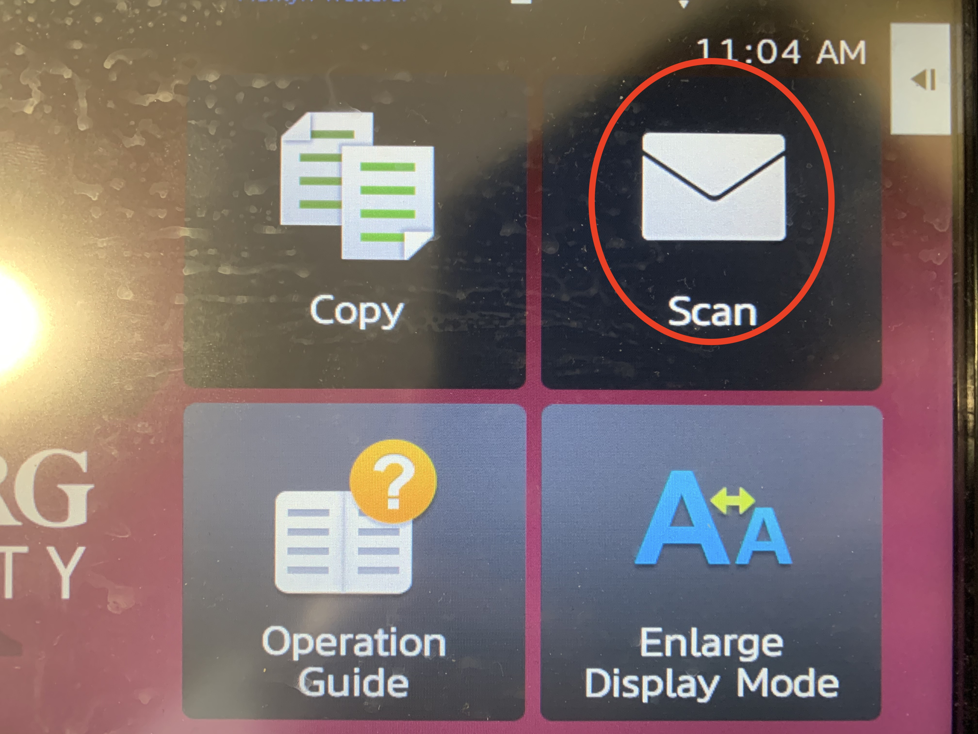 Shows four possible options: copy, scan, operation guide, enlarge display mode