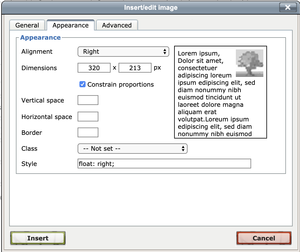 Click the Appearance tab to optionally edit the alignment, size, then click Insert button