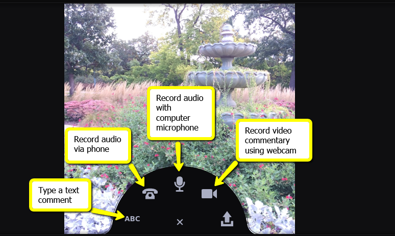 """Showing comment options menu: Click the """"ABC"""" text icon to type a comment, click the telephone and enter a phone number to record audio with your phone, click the microphone to record audio with computer, or click the webcam to record a video comment,"""
