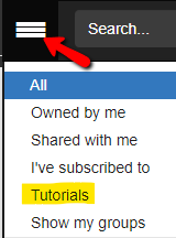 Click the menu button and select Tutorials