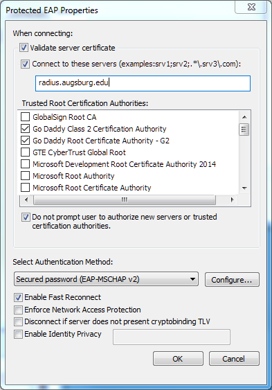 Protected EAP Settings