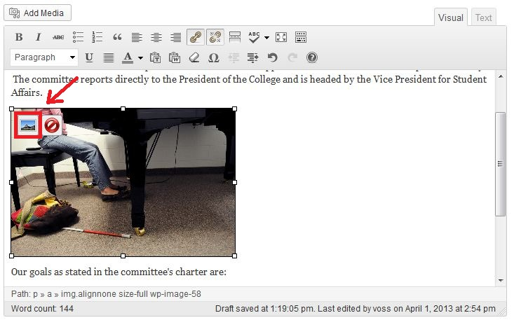 Screenshot of selected image in Wordpress with Edit Image button highlighted