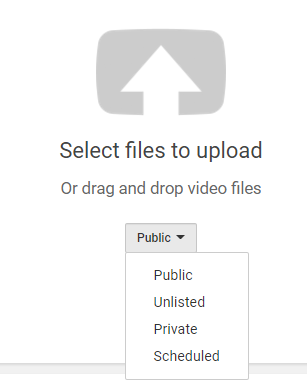 upload video window with security options