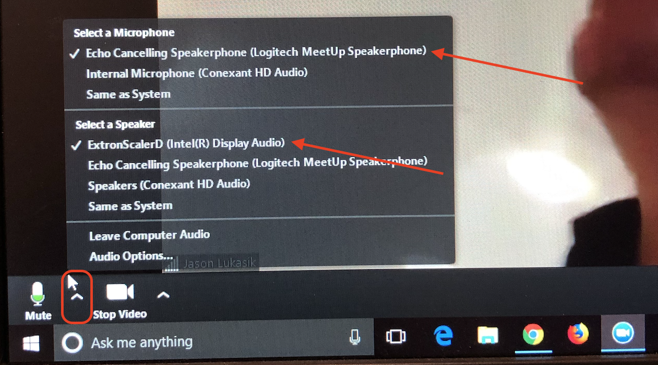 Audio settings for OGC100 Zoom