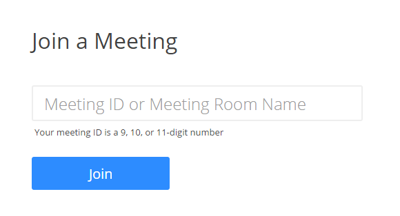 Field for entering meeting id or meeting room name with a blue join button