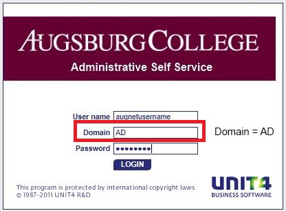 Login screen with Username, Domain, and Password fields
